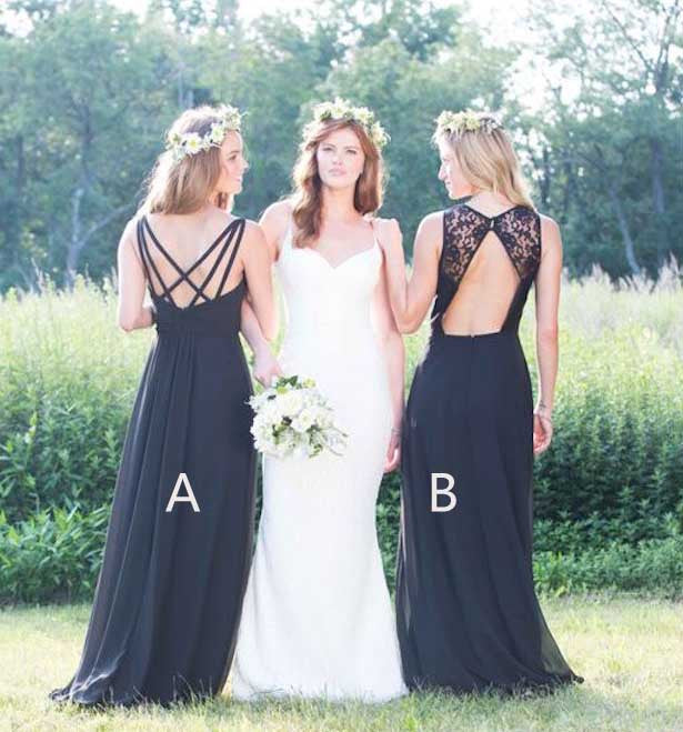 Elegant Black Chiffon Formal Long Wedding Bridesmaid Dresses, PM02070 - Prom Muse