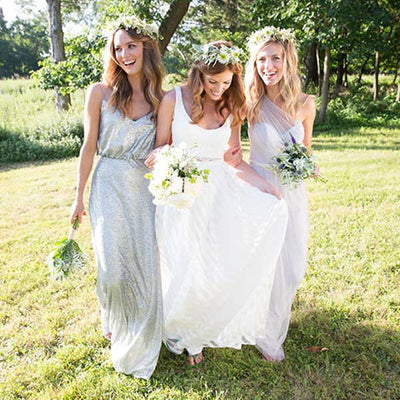 Silver Sequin Floor Length Wedding Party Bridesmaid Dresses, PM0209