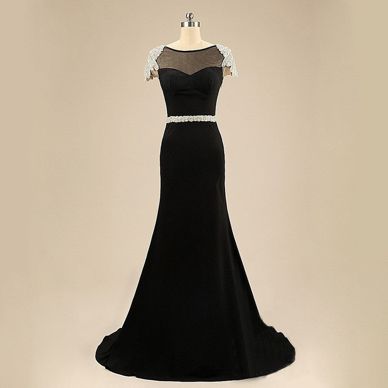 Black Short Sleeves Mermaid V Back Cheap Long Prom Dresses, PM0020 - Prom Muse