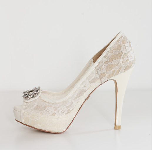 High Heels Fish Toe Ivory Lace Sexy Wedding Bridal Shoes With Tow, S021 - Prom Muse