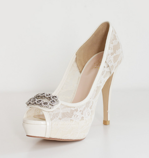 High Heels Fish Toe Ivory Lace Sexy Wedding Bridal Shoes With Tow, S021