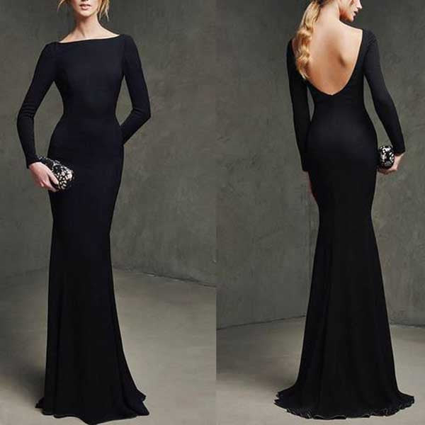 Long Sleeves Mermaid Black Simple Long Bridesmaid Dresses, PM0211