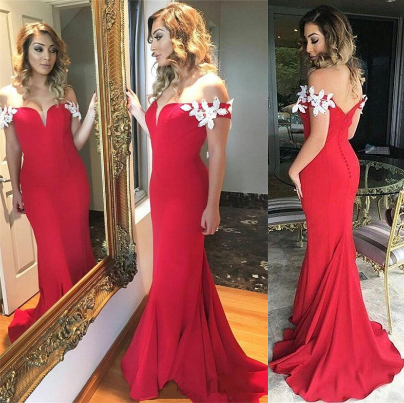 Red Off the Shoulder Mermaid Long Prom Dresses, PM0213 - Prom Muse