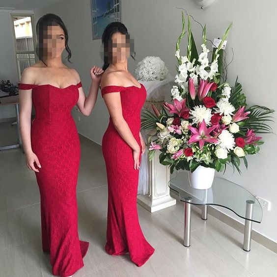 Red Off the Shoulder Sweetheart Mermaid Long Lace Bridesmaid Dresses, PM0213 - Prom Muse