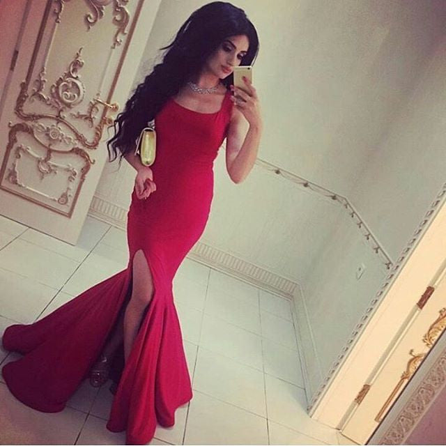 Red Mermaid Side Split Cheap Long Prom Dresses, PM0214 - Prom Muse