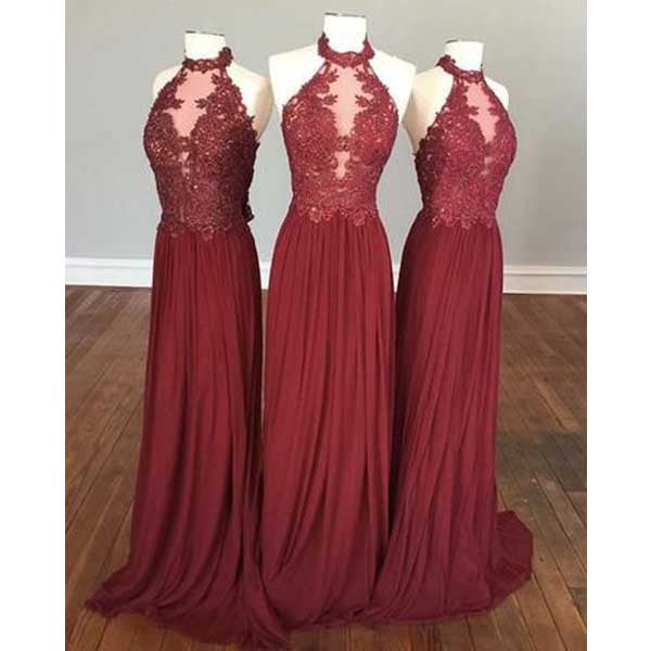 Halter Gorgeous 2017 Long Bridesmaid Dresses for Wedding Party, PM02140 - Prom Muse