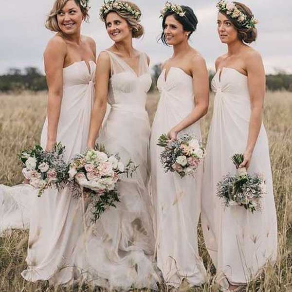 Ivory Unique Online 2017 Long Wedding Party Bridesmaid Dresses, PM02150 - Prom Muse