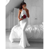 White Mermaid Simple Cheap Long Prom Bridesmaid Dresses, PM0215