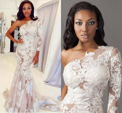 White Long Sleeve Sexy One Shoulder Long Lace Prom Dresses, PM0216
