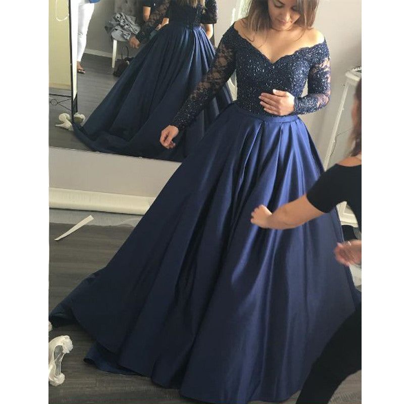 Long Sleeves Lace Top Off the Shoulder Long Prom Evening Dresses, PM0217 - Prom Muse