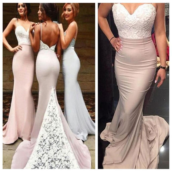 Popular Lace Top Mermaid Spaghetti Strap Long Bridesmaid Dresses, PM02180 - Prom Muse