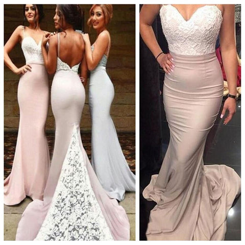 2017 Popular Lace Top Mermaid Spaghetti Strap Long Bridesmaid Dresses, PM0218