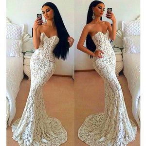Ivory Sweetheart Mermaid Sexy Long Lace Prom Dresses, PM0219