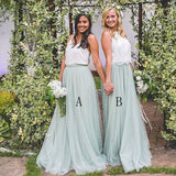 A Line Formal Tulle Beautiful Long Cheap Bridesmaid Dresses, PM02190 - Prom Muse