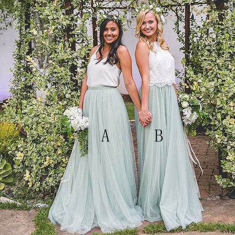 A Line Formal Tulle Beautiful Long Cheap Bridesmaid Dresses, PM0219