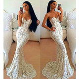 Ivory Sweetheart Mermaid Sexy Long Lace Prom Dresses, PM0219 - Prom Muse