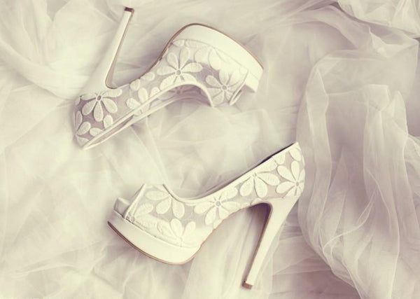 Lace Fish Toe White High Heels Wedding Bridal Shoes, S015 - Prom Muse