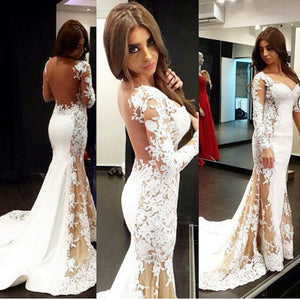 White Long Sleeve Seen Through Back Mermaid Lace Prom Dresses, PM02200