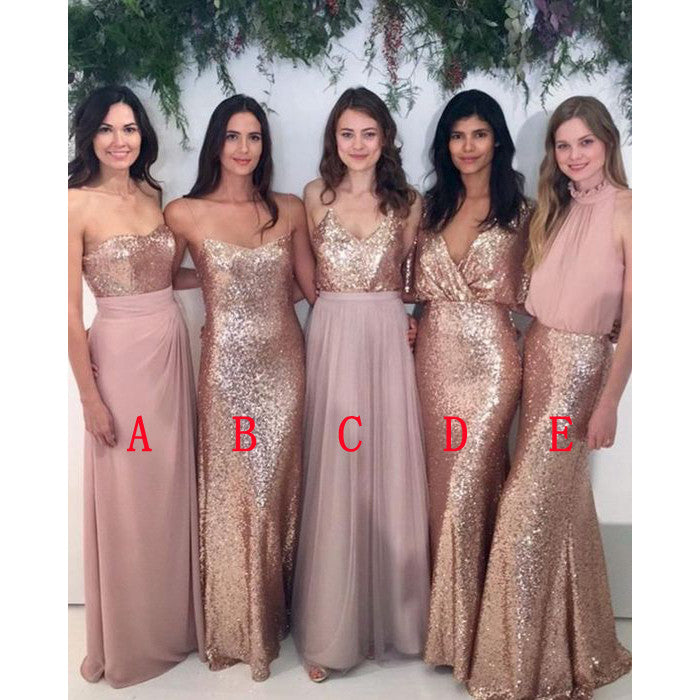 Charming Sequin Mismatched Best Sale Beautiful Cheap Long Bridesmaid Dresses, PM0220 - Prom Muse