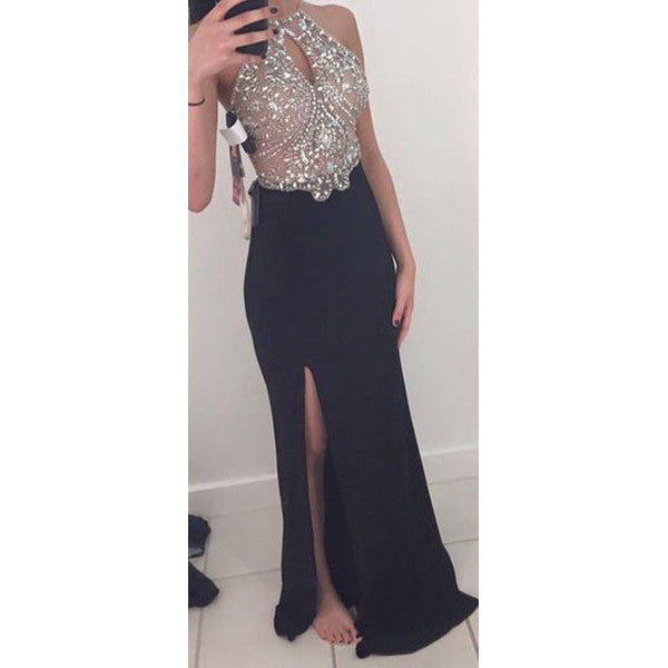 Black Side Split Sparkly Beaded Top Halter Evening Prom Dresses, PM02220 - Prom Muse