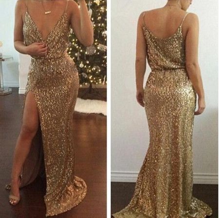 Gold Sequin Cheap Shinning Side Slit Long Prom Dresses, PM02230 - Prom Muse