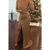 Gold Sequin Cheap Shinning Side Slit Long Prom Dresses, PM02230