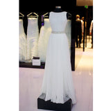 Elegant White Scoop Neck Tulle Long Prom Dresses, PM0224