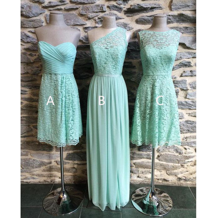 Mismatched Chiffon Lace Mint Long/Short Bridesmaid Dresses, PM0224 - Prom Muse