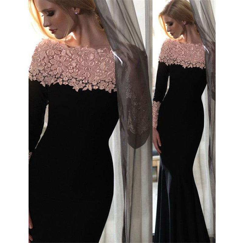Black Mermaid Long Sleeves Lace Top Popular Prom Dresses, PM02250 - Prom Muse