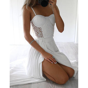 White Lace Top Split Sexy See Through Long Beach Prom Dresses, PM02270