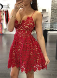 Red Ankle Length Unique Applique Cheap Prom Party Dresses, PM0228