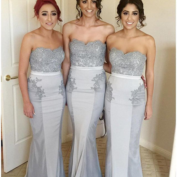 Gray/Sliver Women Fashion Sweetheart Mermaid Lace Long Bridesmaid Dresses, PM0228 - Prom Muse