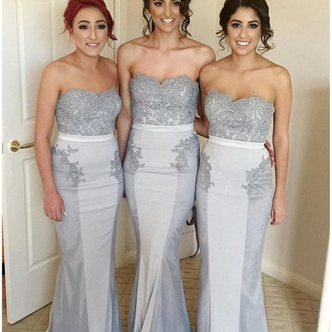 Gray/Sliver Women Fashion Sweetheart Mermaid Lace Long Bridesmaid Dresses, PM0228