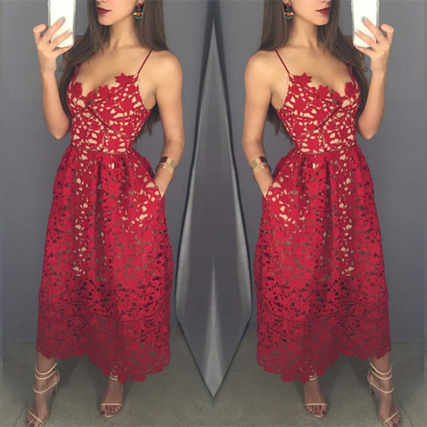 Red Ankle Length Unique Applique Cheap Prom Party Dresses, PM02280 - Prom Muse