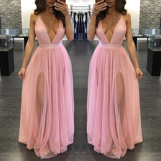 Simple Sexy Deep V Neck Pink Split Tulle Halter Long Prom Dresses, PM0022