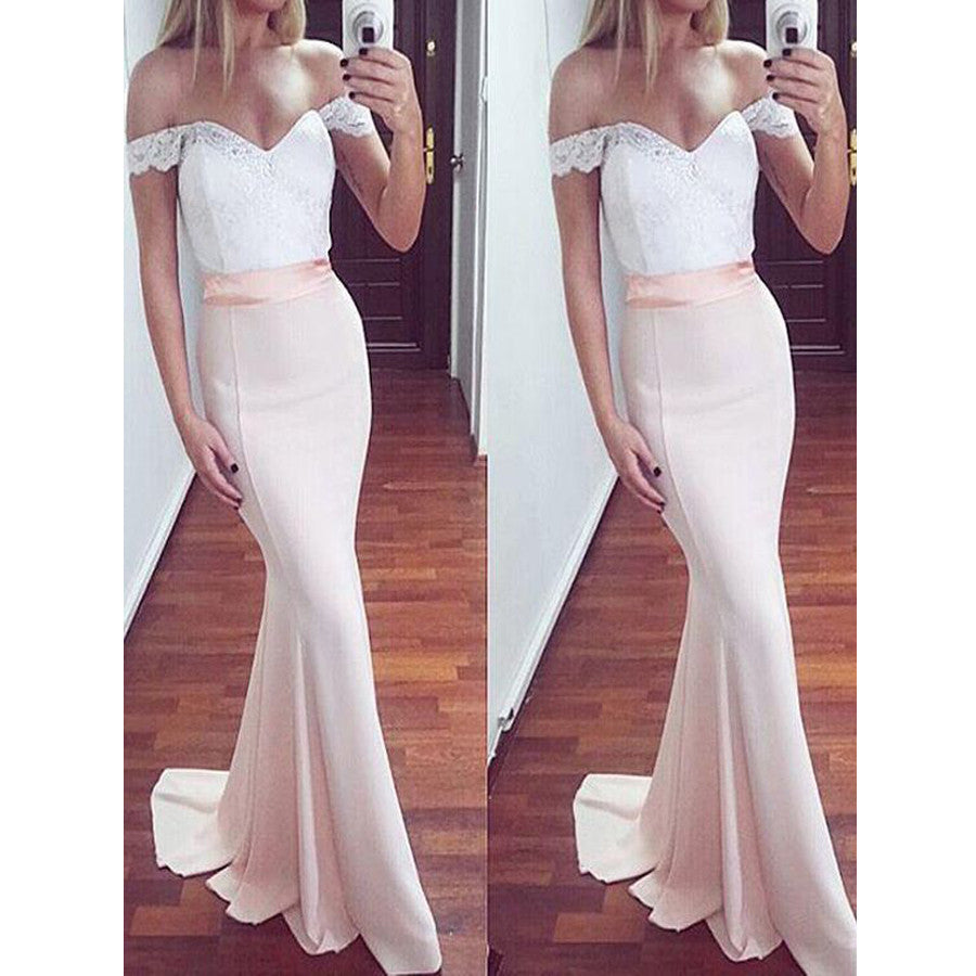 85dd1094b4 Off the Shoulder White Lace Top Blush Pink Mermaid Sexy Long Bridesmaid  Dresses