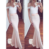 Off the Shoulder White Lace Top Blush Pink Mermaid Sexy Long Bridesmaid Dresses, PM0230 - Prom Muse