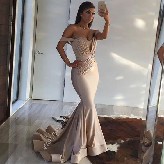 Off the Shoulder Fishtail Mermaid Long Evening Prom Dresses, PM02300