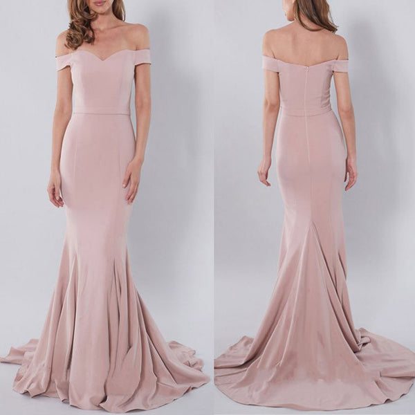 Charming Off the Shoulder Blush Pink Mermaid Sexy Long Bridesmaid Dresses, PM0231 - Prom Muse