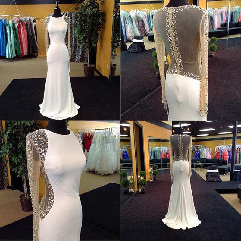 White Long Sleeves Seen Through Back Long Prom Dresses, PM02310