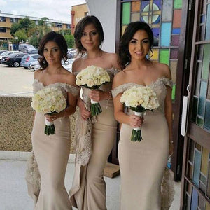 Off the Shoulder Lace Mermaid Sexy Long Bridesmaid Dresses, PM02320