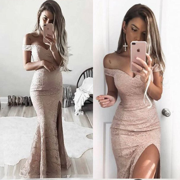 Off the Shoulder Lace Mermaid Side Split Sexy Long Prom Bridesmaid Dresses, PM0233