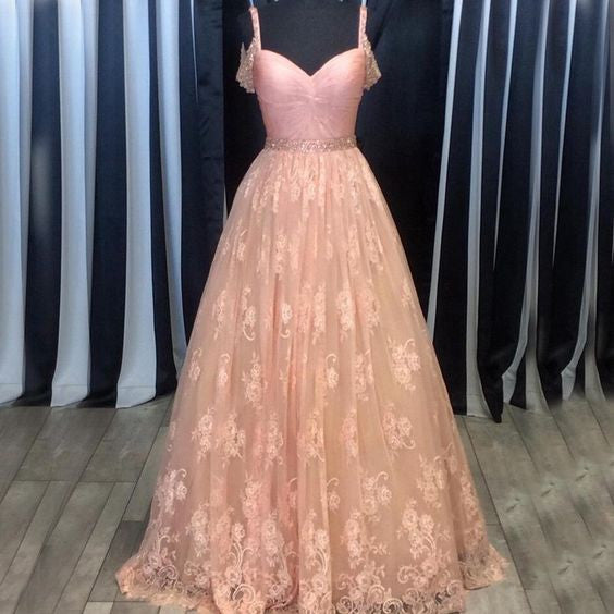 Sweetheart Lace Long Prom Ball Gown Evening Dresses, PM0235