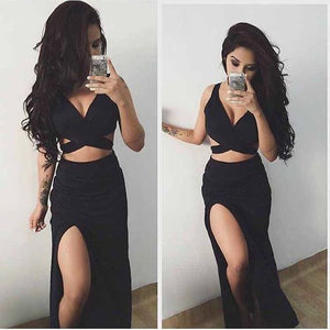 Black Two Pieces Side Slit Long Sexy Beach Prom Dresses, PM0237 - Prom Muse