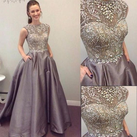 Beaded Top Elegant Cheap Long Ball Gown Prom Dresses, PM0238