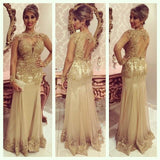 Long Sleeves Backless Unique Applique Long Prom Dresses, PM0023 - Prom Muse
