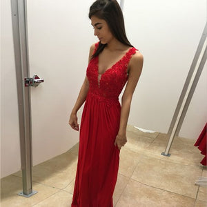 Red V Neck Formal A Line Teenagers Long Prom Dresses, PM0240