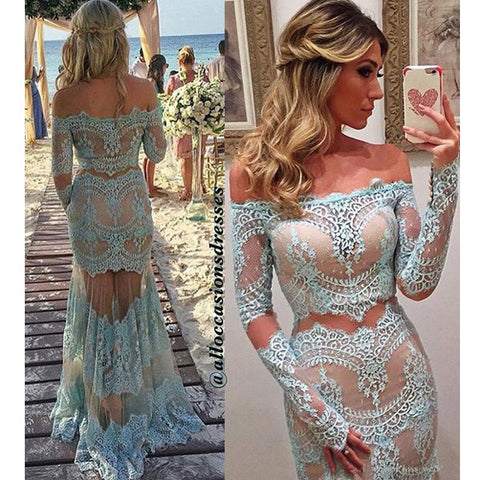Mermaid Sexy See Through Long Sleeves Lace Prom Dresses, PM0241