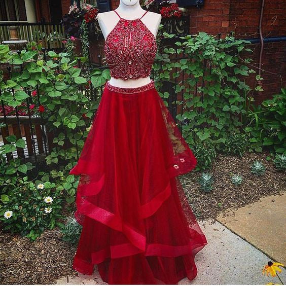 2 Pieces Red Beaded Top Halter Teenagers Long Prom Dresses, PM0242 - Prom Muse