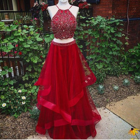 2 Pieces Red Beaded Top Halter Teenagers Long Prom Dresses, PM0242